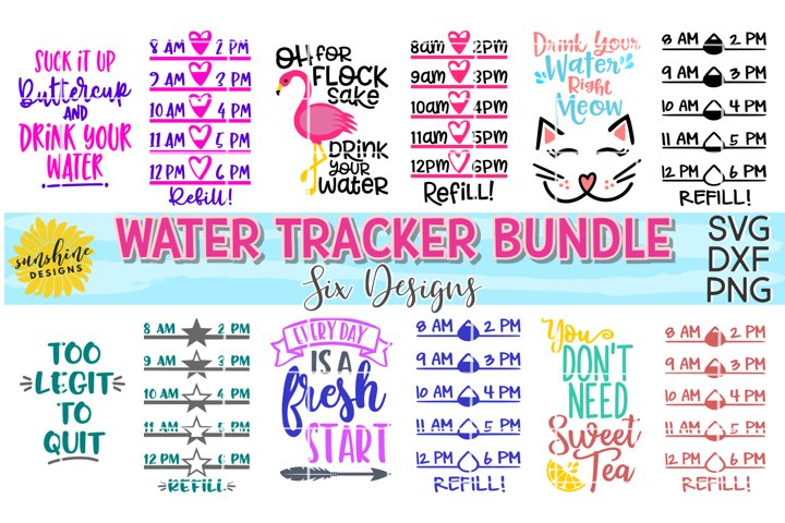 WATER TRACKER BUNDLE SVG DXF PNG | WATER BOTTLE MEASUREMENTS