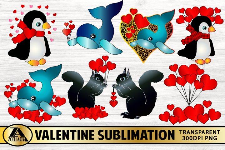 Valentine Sublimation Bundle Cute Animal Illustrations