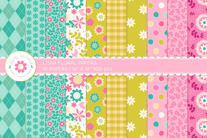 Lissa Modern Hand Drawn Floral Digital Paper Backgrounds