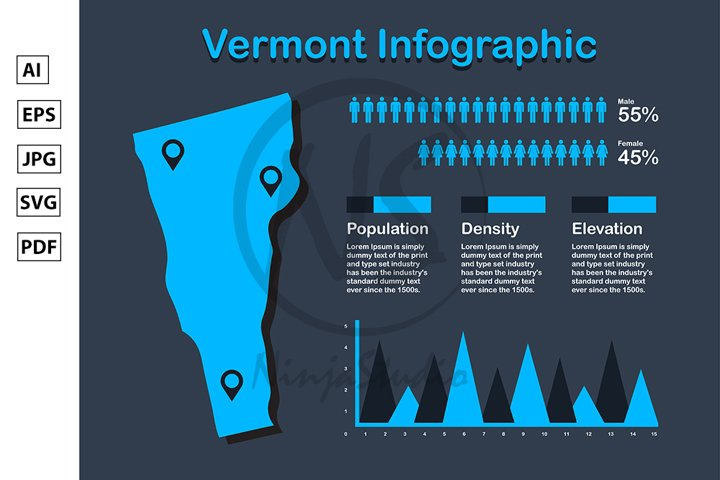 Vermont State USA Map with Set of Infographic Elements