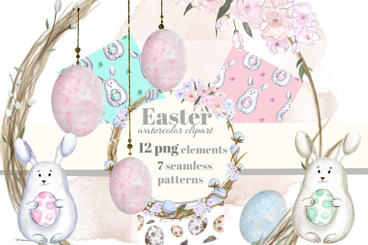 Easter watercolor clipart. Seamless pattern. Cute bunny, egg