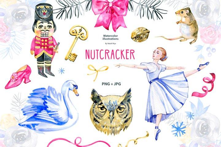 NUTCRACKER. Watercolor clipart
