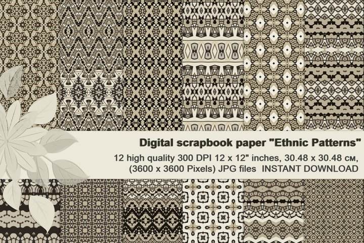 Black and Ivory Ethnic Digital Scrapbook Paper.