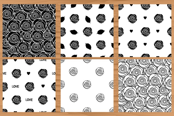 Roses. Flowers. 6 Seamless patterns.