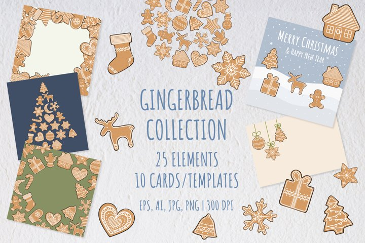 Christmas gingerbread elements, templates and cards