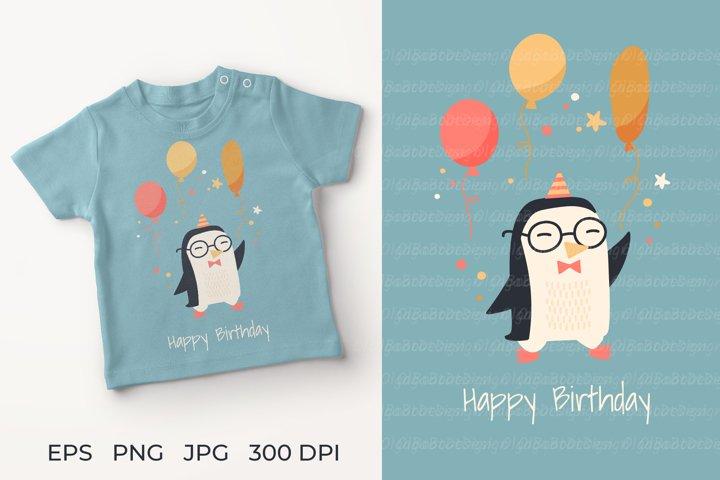 Penguin illustration. Penguin Greeting Card Happy birdthday