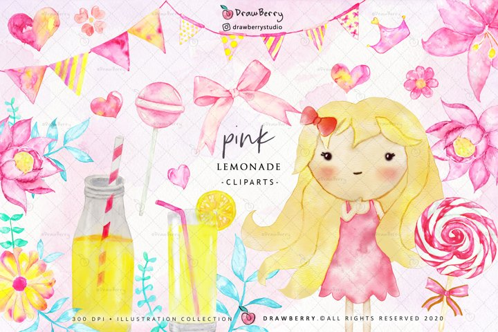 Watercolor Baby Girl Pink Lemonade Party Graphics