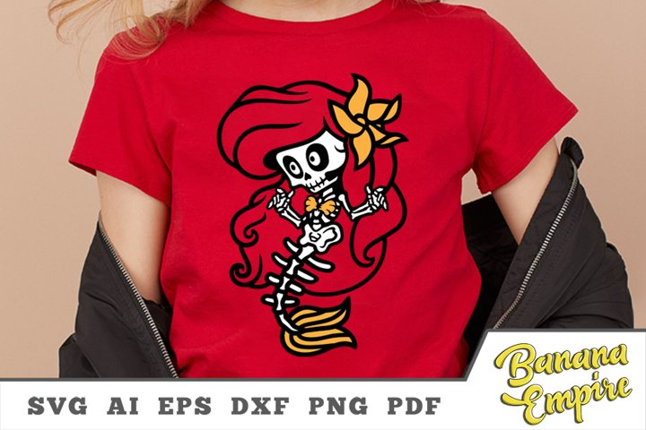 Little mermaid svg, Skeleton svg, Skeleton Mermaid halloween