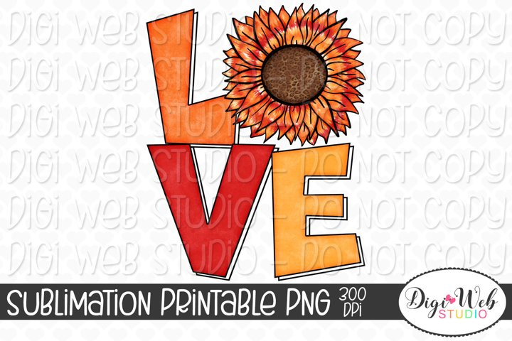 Fall Tie Dye Sunflower Love Sublimation Design