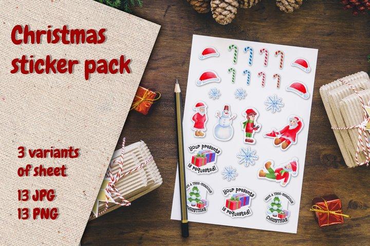 Christmas Gnomes and Santa Stickers. Watercolor pack