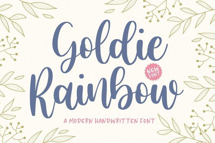 Goldie Rainbow Modern Handwritten Font