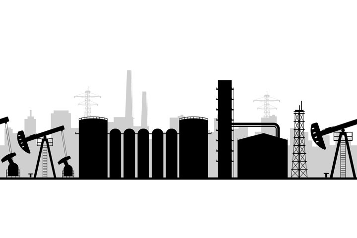 Oil manufacturing black silhouette seamless border