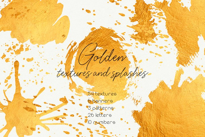 Golden textures and splashes collection