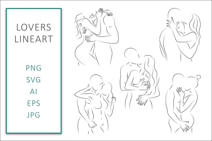 Lovers SVG Line Art Bundle Graphic Vector