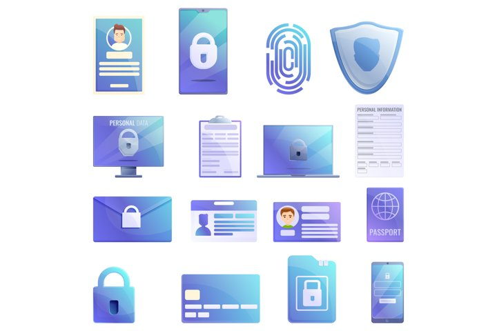 Personal information icons set, cartoon style
