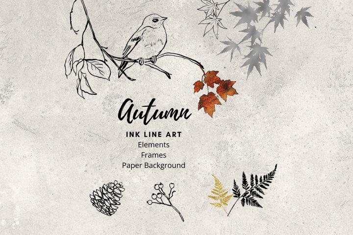 Ink Line Art, Fall Clipart, Foliage Line Art