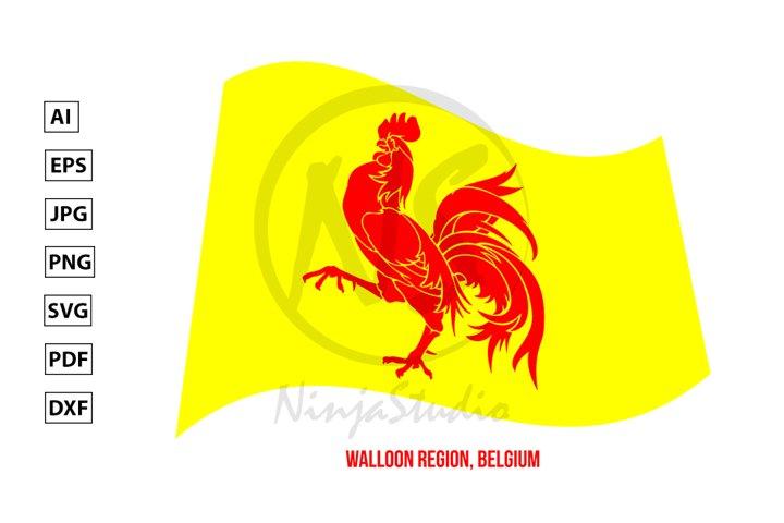 Wallonia Region Flag Waving. Region Flag of Belgium