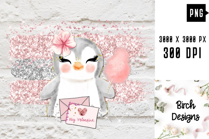 Penguin With Cotton Candy Valentines PNG Sublimation