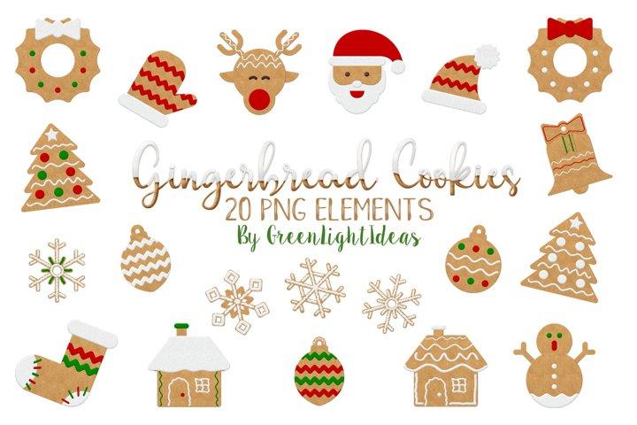 Christmas Gingerbead Cookies Clipart, Christmas Clip Art, Christmas Graphics