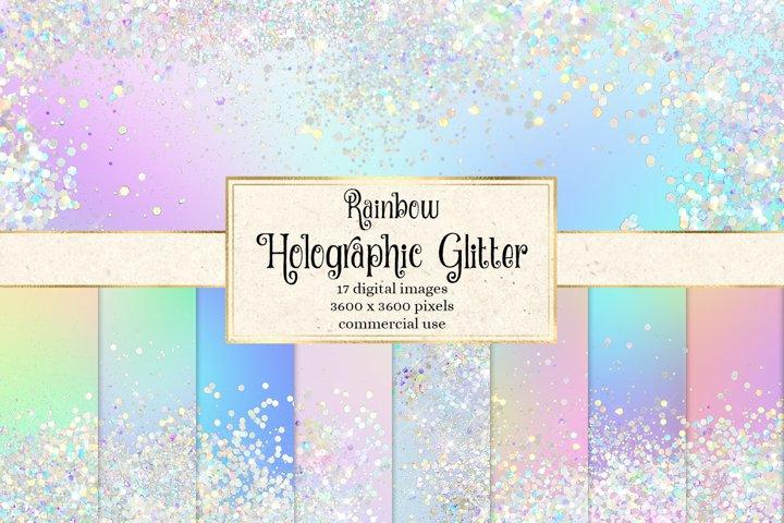Rainbow Holographic Glitter Digital Paper