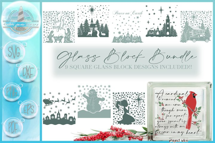 SVG Christmas Square Glass Block Design SVG Bundle