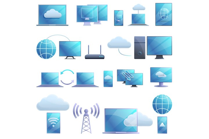 Remote access icons set, cartoon style