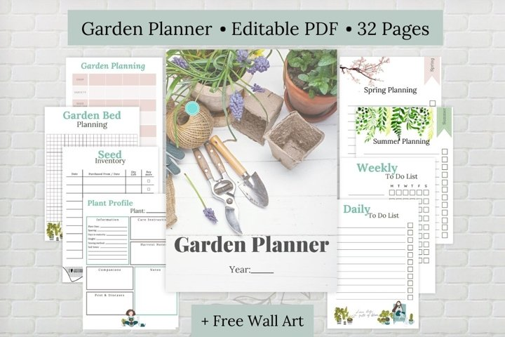 Editable Garden Planner, Printable Garden Planner