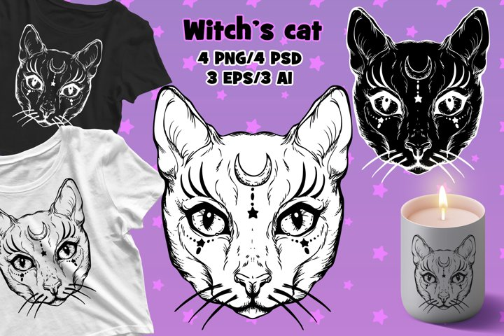 Witchs Cat PSD/EPS/PNG/AI