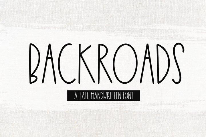Backroads - A Tall Handwritten Font