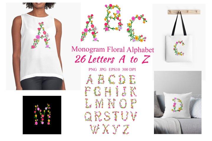 Monogram Floral Alphabet - 26 Letters A to Z