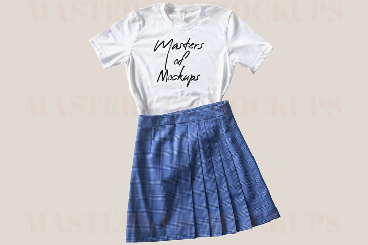 Bella Canvas 3001 white tshirt mockup flat lay with skirt