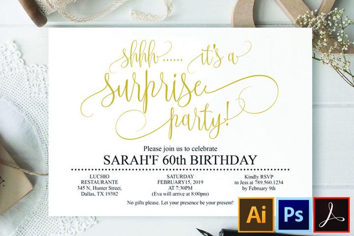 Gold Surprise birthday invitation 60th birthday Party