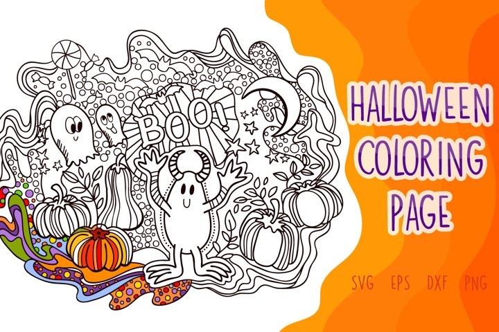 Halloween Coloring Page SVG cut file