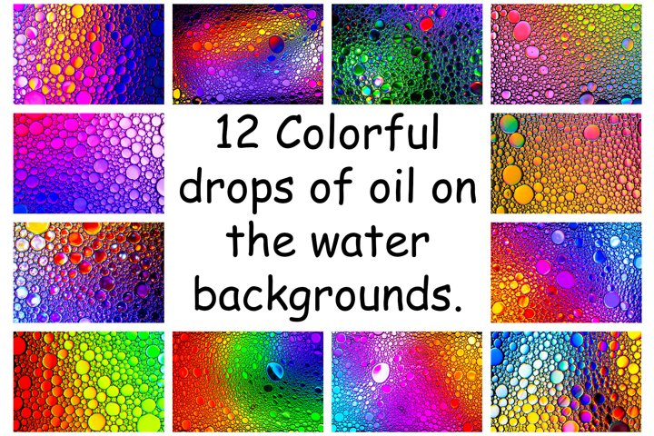A collection of a colrful drops of oil abstract backgrounds.