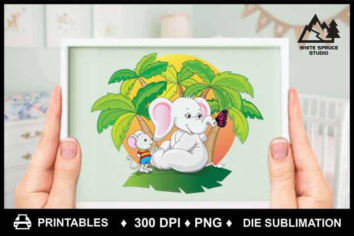 Cute Cartoon Elephant & Mouse PNG Printable Die Sublimation