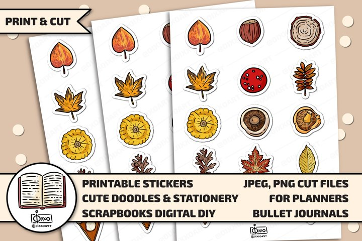 Autumn Printable Digital Stickers