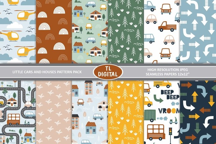 Cars and Houses Patterns / Digital Papers - JPEG - 12x12inch