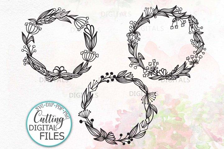 Bundle 3 Summer Floral Wreath Monogram Frame svg dxf digital