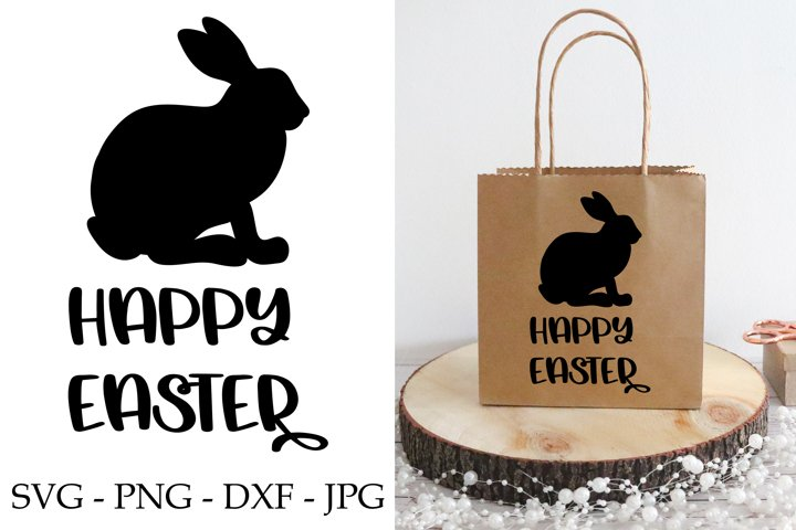 Happy easter svg phrase with easter bunny svg - hello spring