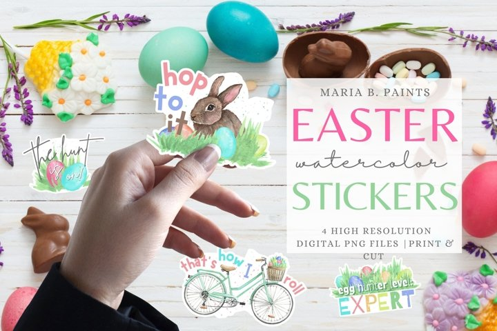Printable Easter Stickers PNG Watercolor Planner Files