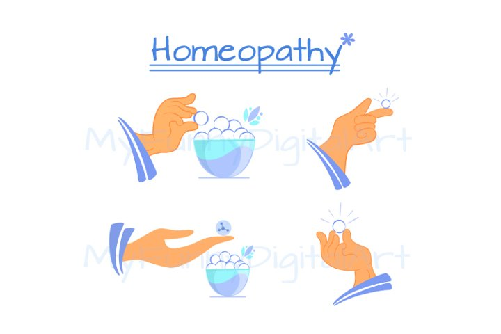 Set of objects and icons homeopathic medecine