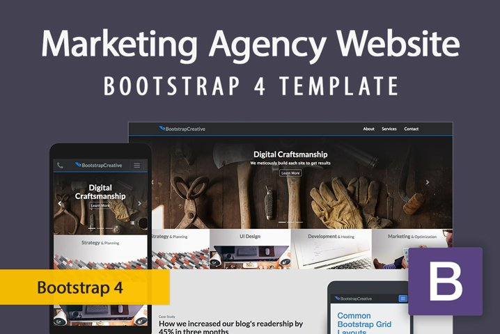 Responsive Marketing Agency Website Template - Bootstrap 4