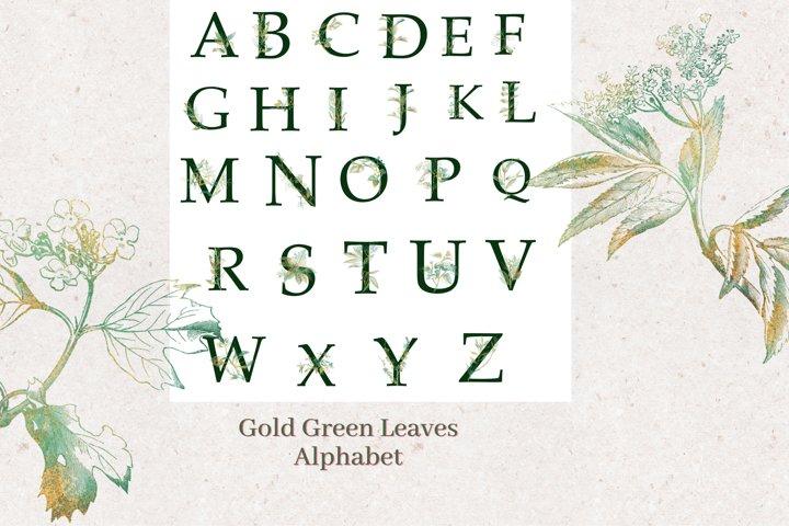 Gold Green Leaves Alphabet, Eucalyptus Gold Wreath