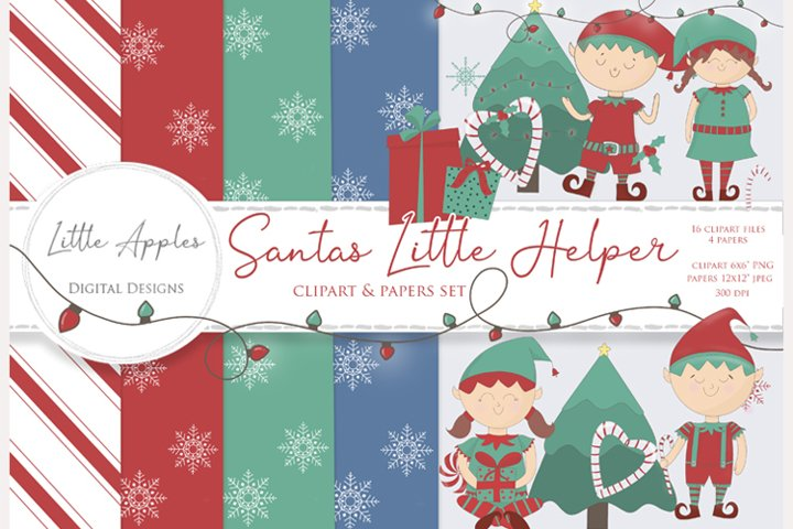 Santas Little Helper Clipart & Paper Pack