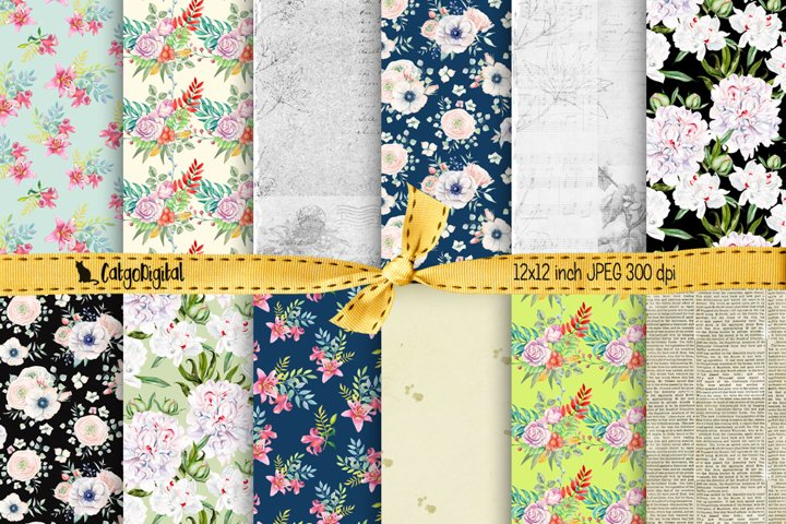Floral Background Papers for Scrapbooking