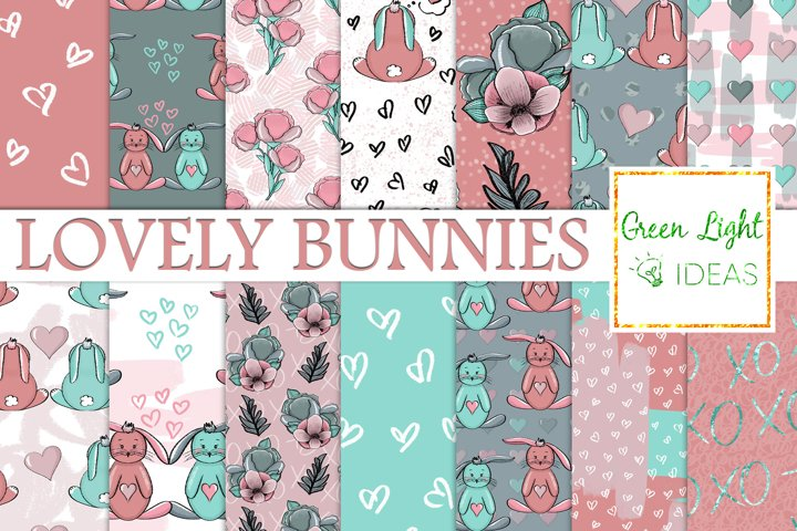 Valentines Bunny Digital Papers, Cute Bunnies Backgrounds