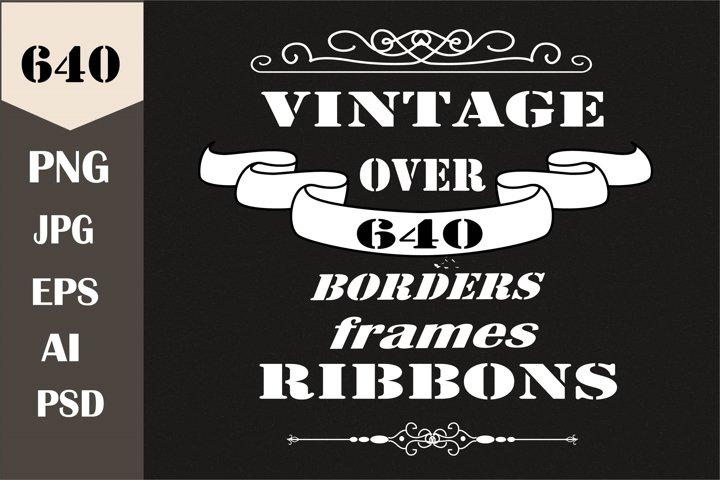 Borders, ribbons, frames, labels, monogram template. Bundle