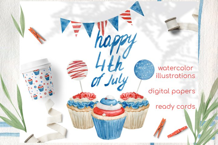 Watercolor 4th of july cupcakes clipart set example