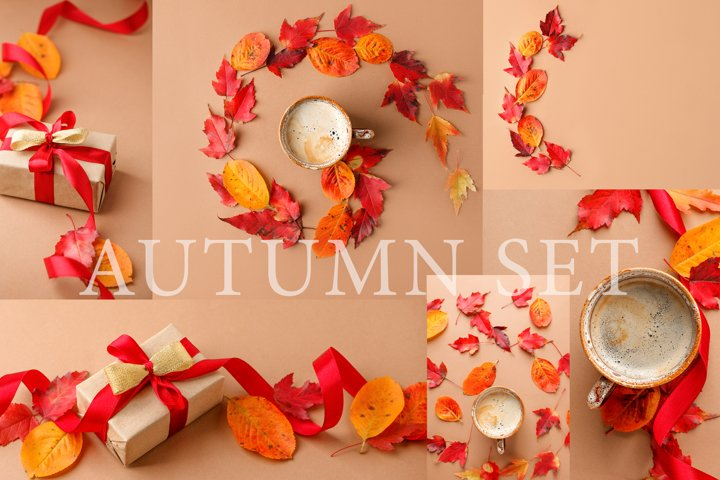 Autumn set. 14 photos with fall leaves, cup of coffee
