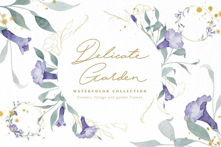 Watercolor Flowers Wreaths Gold Frames Wedding Wildflowers